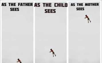 Kid Thrown In The Air Meme:  How Dad Sees It Vs How Mom Sees It