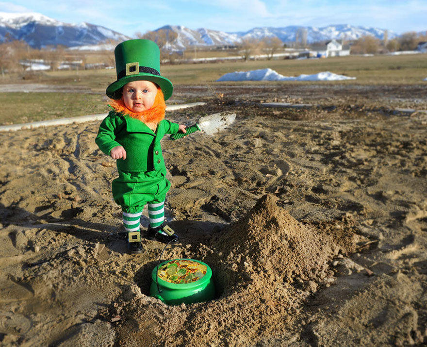 Dad Turns His 6-Month-Old Baby Into A Naughty Leprechaun 5
