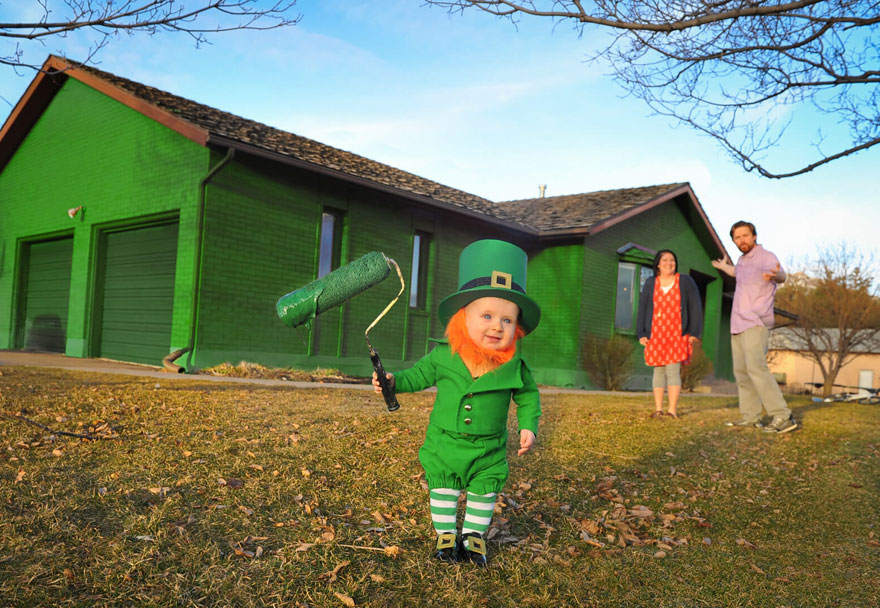 Dad Turns His 6-Month-Old Baby Into A Naughty Leprechaun 9