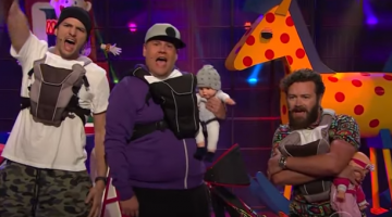 Ashton Kutcher and James Corden Shows What Happens To Boy Bands When They Become Dads