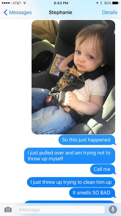 Toddler Barfs In The Car, Dad Freaks, Epic Text Exchange Ensues 1