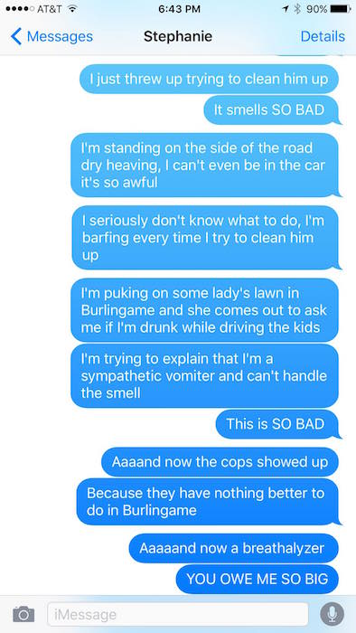 Toddler Barfs In The Car, Dad Freaks, Epic Text Exchange Ensues 2