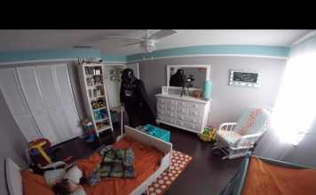 Dad Dresses Up As Darth Vader And Wakes Up His Sleeping Son