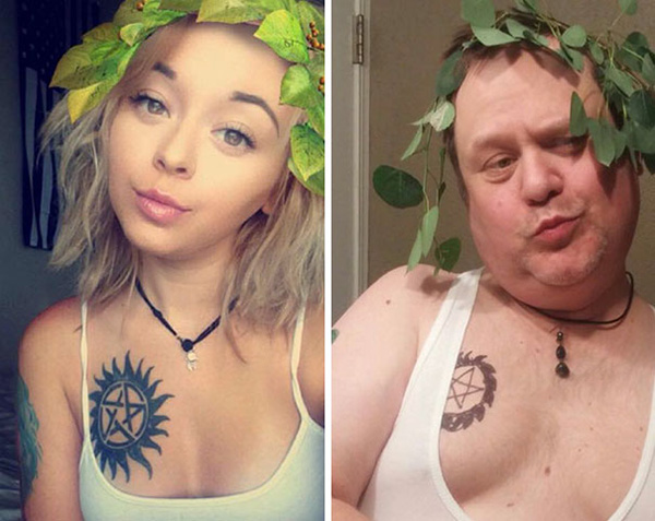 Dad Trolling His Daughter By Hilariously Recreating His Daughter's Selfies 1
