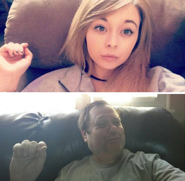 Dad Trolling His Daughter By Hilariously Recreating His Daughter's Selfies 5