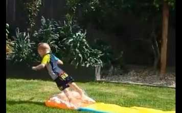Kid Has No Idea How To Use a Slip'N Slide