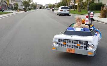 Dad Turns Son's Wheelchair Into The Ghostbusters Car For Halloween